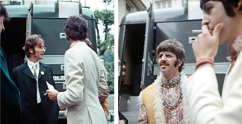 This image has an empty alt attribute; its file name is 1967-Our-World-the-Beatles-in-carpark-Abbey-Road-2-pics-1024x526.jpg
